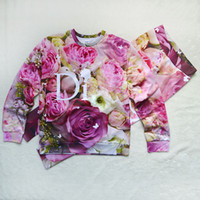 Cheap Hot style roses floral print sweats suits 3d vivid flowers pattern sweatshirt sets for women casual sports wear pullover suits