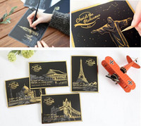 Wholesale 2015 World of Building City at Night Postcard Scratch Night View Night Scraping Scratch Drawing world Sightseeing Free Pen Best Gifts