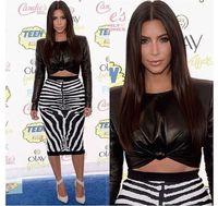 Cheap Hot Sale New Women vestido de festa 2015 Spring Celebrity Sexy Bodycon Vestidos Leather pu Tops Bandage zebra 2 piece Dresses