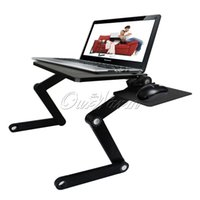 Wholesale T3 Aluminum PC Notebook Laptop Adjustable Folding Desk Stand Table Tray with Mouse Pad Heat Dissipation Fan