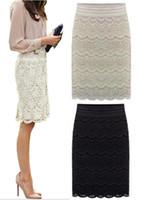 Wholesale 5XL XXL Women Lace High Waist Skirts Beige Knee Length brief Office ladies faldas Praia bottoms Grunge Skort Spring Summer