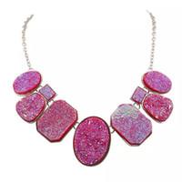 Wholesale New fashion accessories item selling square pendant Ms set auger fluorescent color short necklace