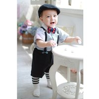 Wholesale 2015 new pieces summer boys clothing sets gentleman set baby boy clothes shirt and suspender trousers Gen