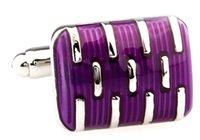 Wholesale Purple Enamel Paint Square Cufflinks for Mens Groomsmen Gifts Wedding cf158120