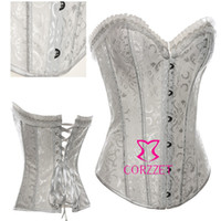 Wholesale Black White Sexy Wedding Lingerie Lace Up Boned Strapless Overbust Bridal Corset Bustier Top For Women Underwear