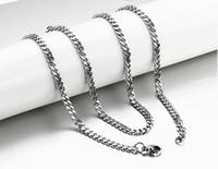 Acero inoxidable para hombre de alto brillo cubano cubano encadenar collar de cadena 20 pulgadas, Navidad de plata / Halloween 3.5mm de ancho