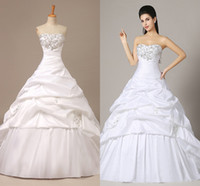 Wholesale In Stock Ball Gown Wedding Dresses Taffeta Bridal Gown With Sweetheart Lace up Back Sequins Appliques Beads Draped Sweep Train ZA028