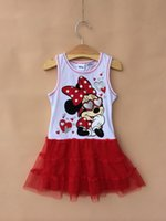 Wholesale 2014 Summer Children Girls Sleeveless Tutu Dresses Kids Clothing Cartoon Miki Minnie Mouse Tulle Dress Childs Tank Gauze Dressy ps H1839