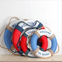 Wholesale Blue and Red Lifebuoy fabric art Hang Decoration Mediterranean Style Decorations Home Coffen Bar Hangings Support Drop Shipping