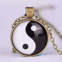 alloy diagram - Yin yang necklace Tai Chi shape black and white glass dome photo pendent chinese Taoism sign ancient Eight Diagrams Zen jewelry