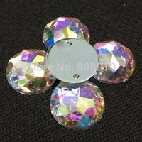 Wholesale AAA mm AB Color Superior Taiwan Acrylic Flat Back Stones Round Circle Shape Acrylic Rhinestone Sew On Hole