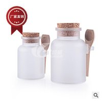 Wholesale DHL Free g bath salt round shape ABS Bottle Cosmetic bottle Jars with cork spoon Bath Salt Powder Bottle ABS Cream film Bottle