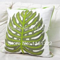 Cheap Free shipping 2014 new Embroidery banana leaf pillow cover waist pillow pillow case cushion cover