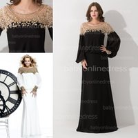 Model Pictures flowing prom gowns - Vintage Spring Formal Evening party gowns bateau with long sleeves zipper back flow chiffon beading prom mother dresses BZP0431