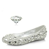 Wholesale Bright red wedding shoe flat crystal wedding shoes bride wedding shoes s with white diamond beads