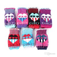 Wholesale Stylish Women Lovely Knit Heart Fingerless Gloves Warmer Soft Winter Mittens BD8