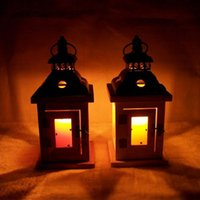Wholesale retro wooden candlestick lantern Moroccan Mediterranean home furnishing boutique