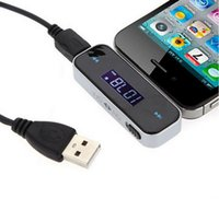 Wholesale 3 mm FM Transmitter Radio Adapter for iPhone S C ipod iphone plus with resell package dhl