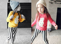 Wholesale 2015 Spring Girl Pajamas Cat Stripe Cotton Long Sleeve Underwear For Kids T