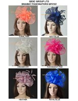 Silk Flower ascot - Big Sinamay fascinator hat Feather fascinator for Melbourne Cup Ascot Races kentucky derby wedding coral hot pink navy blue and cream