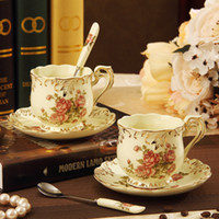 ceramic cup and saucer - New style Bone china coffee tea set with flowers cup and saucers with spoon ON Sales
