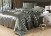 Wholesale Silver grey silk bedding set satin sheets Cal king queen full twin size quilt duvet cover fitted bed in a bag bedroom linen