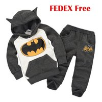 kids clothing wholesale - Babys Outfit Cartoon Bat Spring Autumn Suits Hooded Jacket Pants Sizes Y Long Sleeve Outfits Sets Baby Kids Clothing Fedex free