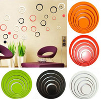 Wholesale 1 Set color Indoors bathroom home Decoration Circles Creative Stereo Removable D DIY Wall Stickers