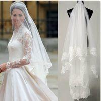 chaud vente de mariée en dentelle voile deux couches de haute qualité dentelle Ivoire voile pour mariage gros accessoires de mariée voiles de mariée blanche