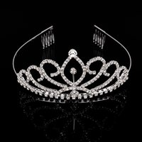 Wholesale 10Pcs Rhinestone Tiara Crown Headband For Wedding Bride Pageant Tiara Hair Combs Hair Jewelry Factory Customized YC