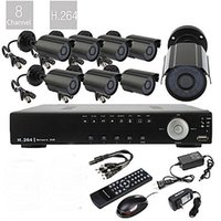 Wholesale 8CH D1 Real Time H TVL High Definition CCTV DVR Kit Waterproof Day Night CMOS Cameras