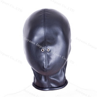 adult high quality - High quality leather bondage hood full mask fetish face mask cap sex toys sex slave game for adults bondage device