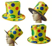 stage prop - 2016 Hot Sale Halloween Party Clown Hats New Dots magician Top Hat Stage Props Clown Hats