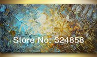acrylic impasto - Painting Calligraphy Acrylic Modern Blue Brown Impasto Abstract Palette Knife Oil Painting On Canvas Wall Pictures Home Decor