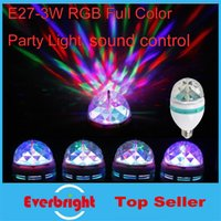 Wholesale 50 New Arrivals W E27 RGB lighting Full Color LED Sound activated Crystal Stage Light Auto Rotating Stage Effect DJ lamp Stage Bulb