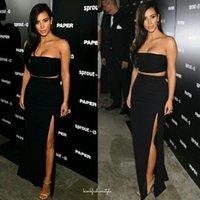 Cheap Sexy Kim Kardashian Dresses Black Two Piece Red Carpet Dress Strapless High Side Slit Long Cheap Celebrity Evening Gowns