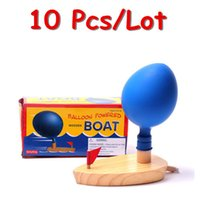 Wholesale Balloon Powered Wooden Boat Children Wooden Toys Educational Family Game Baby Gift Bath Toy