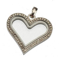 Wholesale glass lockets pendants for necklaces momory heart crystal slide magnet living original owl floating charms white K diy fashion mm
