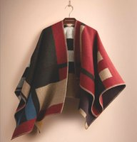 Wholesale 2015 Fall Winter Color Block Check Blanket Poncho Warm Large Plaids Poncho New Fashion Wool Cashmere Shawls Men Women Christmas Gift