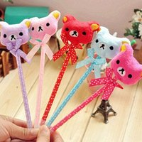 Ballpoint Pens bearing suppliers - office stationery supplier cute plush cartoon animal bear bow ballpen plush ballpoint pen gift pen ARC733