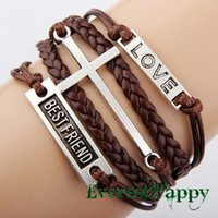 best gift items men - Antique Silver Cross Love Best friend infinity charm bracelets handmade and bangles gift items for women and men multilayer leather hy1057