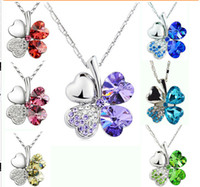 Wholesale Fashion Women Girl silver tone Clear Rhinestone Colour crystal clovers Penadant necklaces assorted