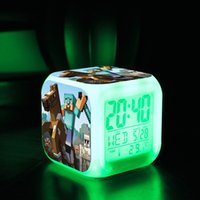 Wholesale Minecraft Alarm Clock Creeper Clock with LED Multifunction Night Light Electronic Alarm Clock Toys Retail Creative Christmas Gift TOY
