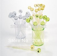 Wholesale Fruit Fork Stirring Rod Swizzle Stick With Cup Smiley shape Toothpick Kitchen Gadgets