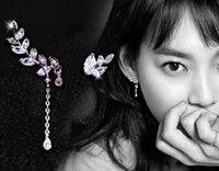 Wholesale S925 Sterling Silver Earrings earpins leaves with high grade Zircon Earrings asymmetric fashion elegant high end jewelry