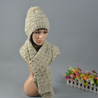 Wholesale Winter Beanie Scarf Set Women s Hat and Scarves Warm Thick Pink Beige Hats Caps Z