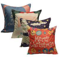 antibacterial pillow - New Christmas Series Linen Cotton Pillow Case Santa Claus Polar Bear Snowman Antibacterial Square Home Office Hotel Supplies