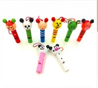 Wholesale New Children Learning Education Toys Hot Cute Animal Small Whistle Wooden Playing Instrument Baby Kids Cartoon Toys Good Gift Mix Styles