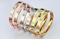 men titanium bracelet - women and men lovers silver gold rose gold colors stainless steel screw couple bangle bracelets jewelrys