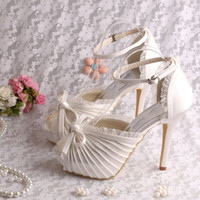 Wholesale Colors Custom Fashionable High Heel Platform Sandals Wedding Bridal Cream Color Satin